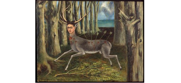 Frida Kahlo The little Deer, 1946 Oil on masonite, 22.5 x30.3 cm, Private Collection, © Banco de México Diego Rivera Frida Kahlo Museum Trust / VISDA 2019 Foto: Nathan Keay, © MCA Chicago